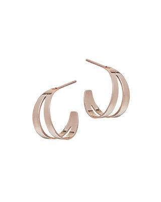 LANA Double Flat Huggie Hoop Earrings