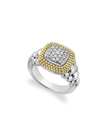 Lagos Diamond Lux Square Ring, Size 7