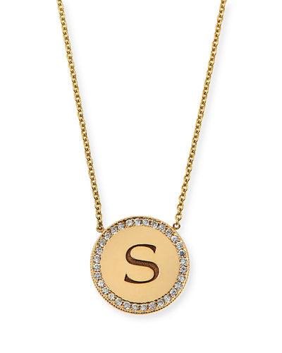 14k Personalized Pave Diamond Disc Initial Necklace