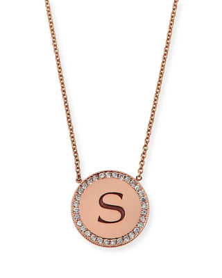 Personalized Pavé Diamond Disc Initial Necklace