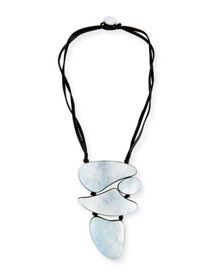Image 1 of 2: Freeform Mother-of-Pearl Pendant Necklace