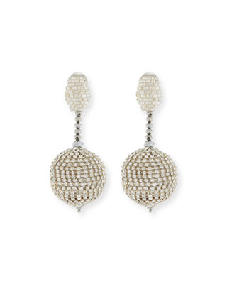 Beaded Ball Drop Clip-On Earrings