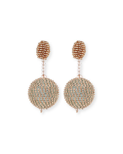 Oscar de la Renta Beaded Ball Drop Clip-On