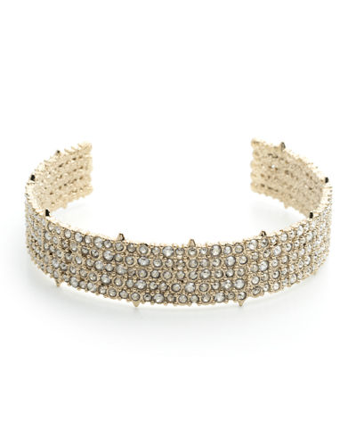 Crystal-Encrusted Spike Choker Necklace