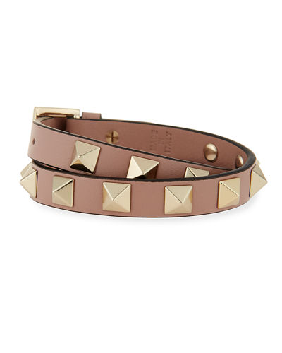 Valentino Double-Wrap Leather Rockstud Bracelet
