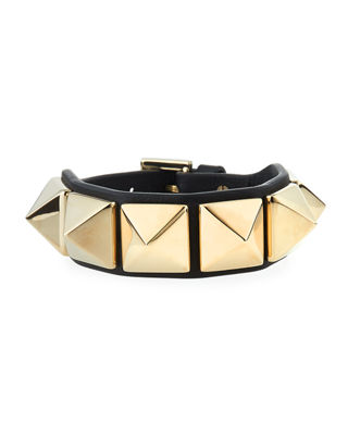 Rockstud Small Leather Cuff Bracelet