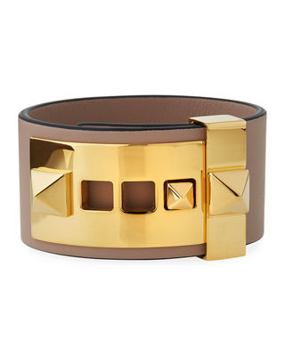 Rockstud Large Leather Cuff Bracelet