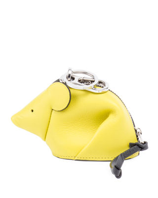 Mouse Leather Coin Purse Key Chain, Yellow
