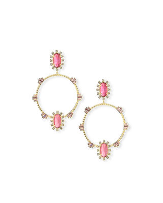 Gareth Open Hoop Drop Earrings in Golden-Tone Plate