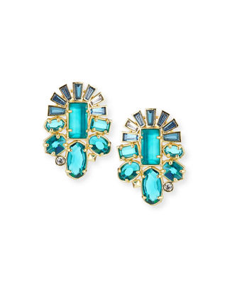 Huckaby Crystal Statement Earrings in Gold-Tone Plate