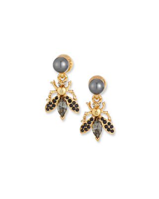 Oscar de la Renta Bug Button Clip-On Earrings