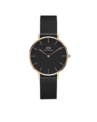 DANIEL WELLINGTON Daniel Welington Classic Petite Ashfield Watch, 32Mm in Black / Rose Gold