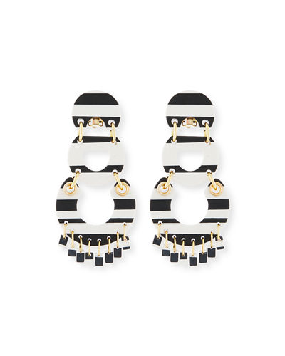 Piñata Striped Three-Drop Earrings