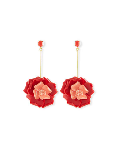 Petunia Long Floral Drop Earrings