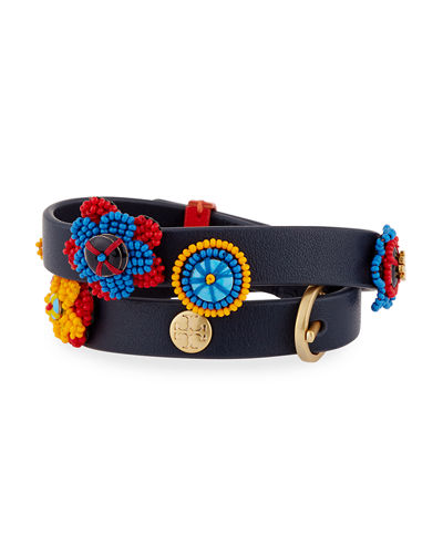 Seed Bead Flower Double-Wrap Bracelet