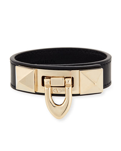 Small Leather Rockstud Flip-Lock Bracelet