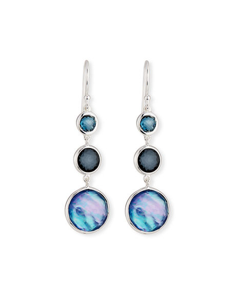 Image 1 of 2: Ippolita Small Silver Lollitini Three-Stone Earrings in Eclipse