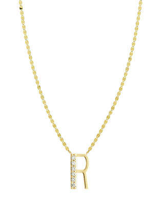 Get Personal Initial Pendant Necklace With Diamonds, R