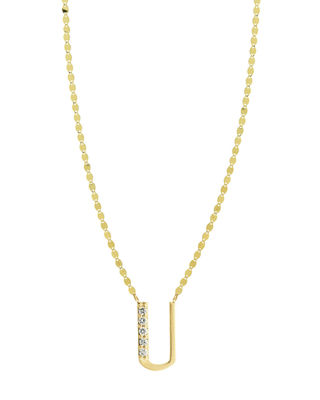 Get Personal Initial Pendant Necklace With Diamonds in U