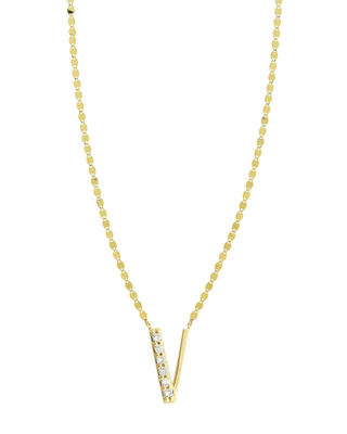Get Personal Initial Pendant Necklace With Diamonds, V