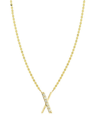 Get Personal Initial Pendant Necklace With Diamonds in X