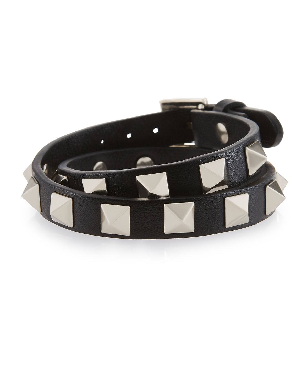 Small Rockstud Leather Wrap Bracelet