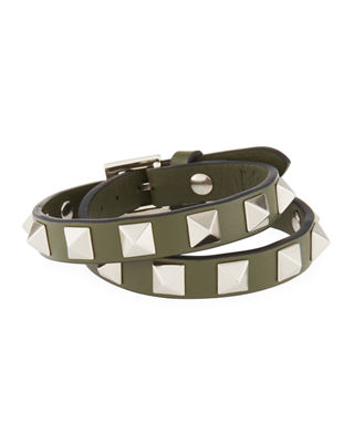 Napa Rockstud Leather Choker/Wrap Bracelet