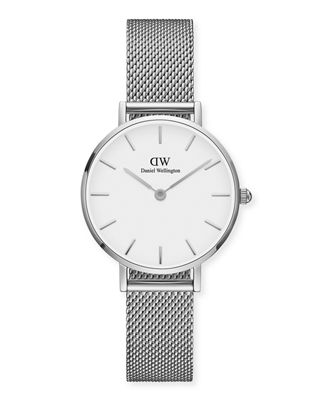 DANIEL WELLINGTON 28Mm Classic Petite Melrose Bracelet Watch in Silver/ White/ Silver