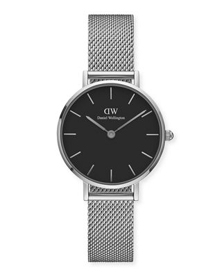 DANIEL WELLINGTON 28Mm Classic Petite Melrose Bracelet Watch in Silver/ Black / Silver