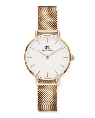 DANIEL WELLINGTON 28Mm Classic Petite Melrose Bracelet Watch in Rose Gold/ White/ Rose Gold