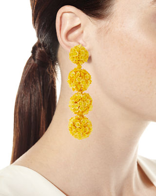 Image 3 of 4: Fleur Bouquet Clip-On Earrings