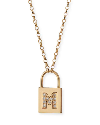 14K Padlock Initial Pendant Necklace with Diamonds