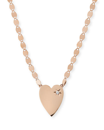 14k Small Heart Pendant Necklace w/ White Diamond