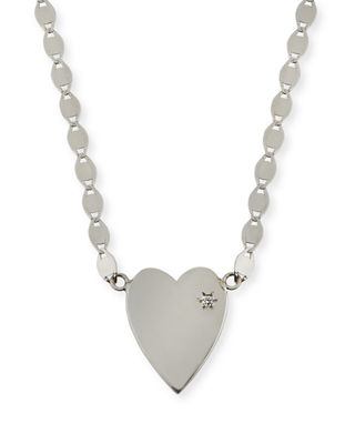 LANA 14k Small Heart Pendant Necklace w/ White