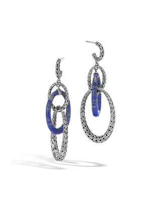 John Hardy Classic Chain Hoop Drop Earrings