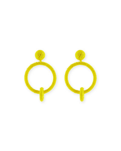 Oscar de la Renta Beaded Double-Hoop Clip-On Earrings