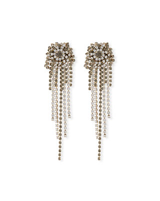 Dries Van Noten Starburst Crystal Chain Dangle Earrings