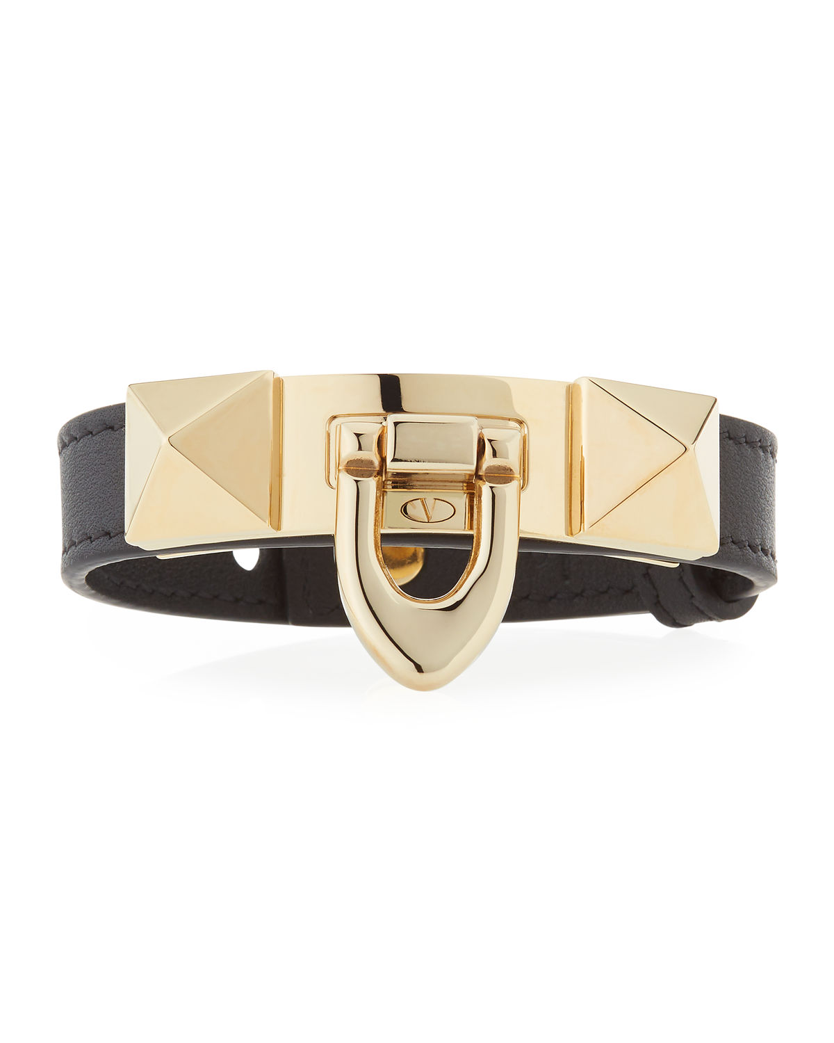 Calf Leather Rockstud Flip-Lock Bracelet