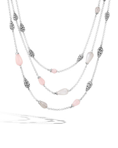 Classic Chain Multi-Row Teardrop Necklace