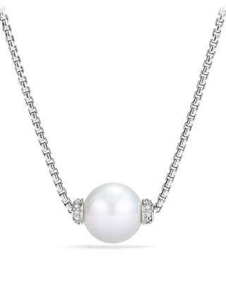 Solari Pearl Pendant Necklace w/ Diamonds