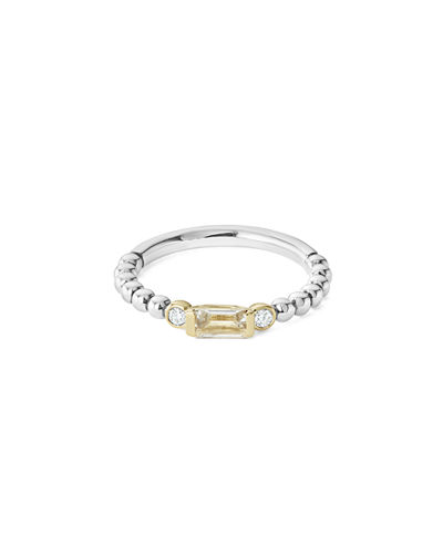 18k Beaded Stacking Band Ring w/ Diamonds, Size 6