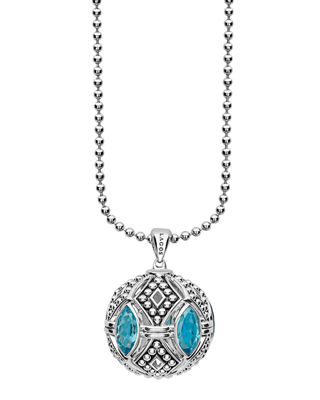 Lagos Caviar Talisman Marquise Gemstone Ball Pendant Necklace,