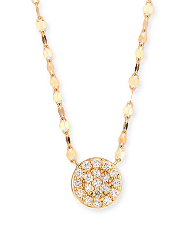 14k Flawless Diamond Pave Disc Pendant Necklace