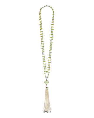 Lagos 18k Caviar?? Forever Beaded Pearl Tassel Necklace,