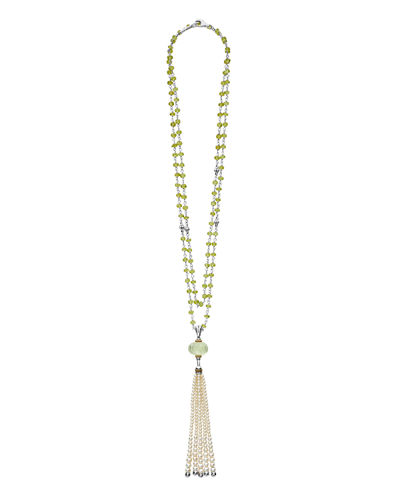 18k Caviar Forever Beaded Pearl Tassel Necklace, 36