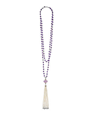 Lagos 18k Caviar Forever Beaded Pearl Tassel Necklace,