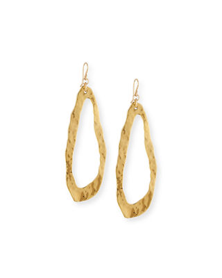 Devon Leigh Elongated Hammered Drop Earrings
