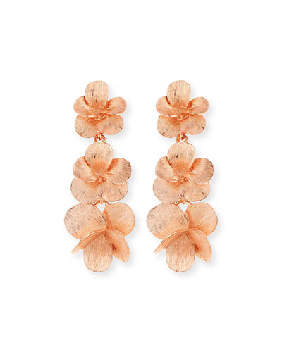 Brushed Textured Flower Drop Clip Earrings
