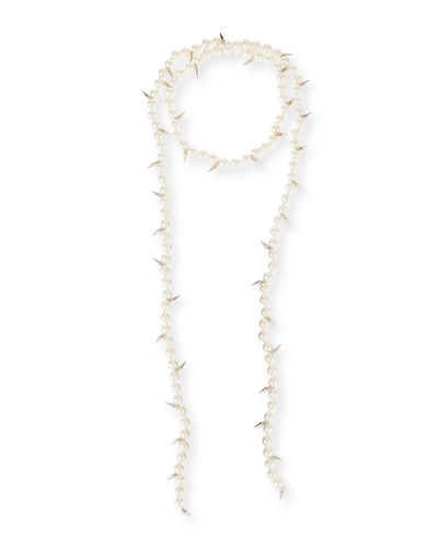 Linda Pearly Spike Lariat Necklace