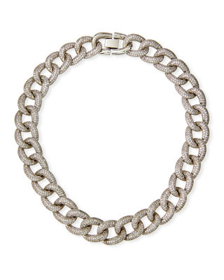 Armure Cubic Zirconia Pavé Curb Chain Collar Necklace, Extra Large